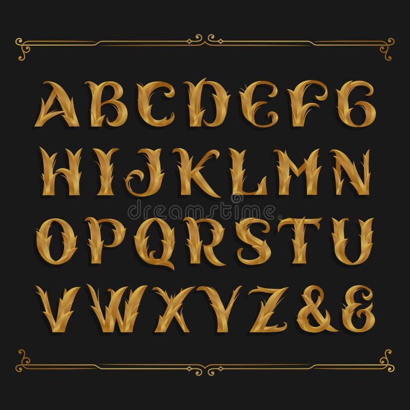 Decorative ornate alphabet vector font. Golden leaf letters. royalty free illustration