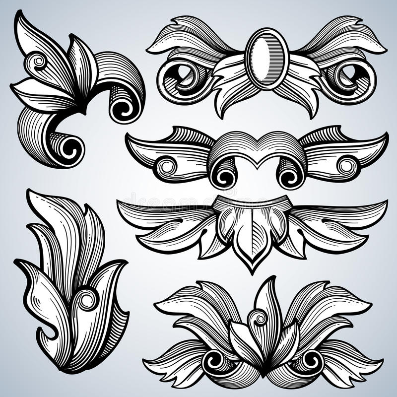 Decorative Ornate Engraving Scroll Ornament Leaves Of
