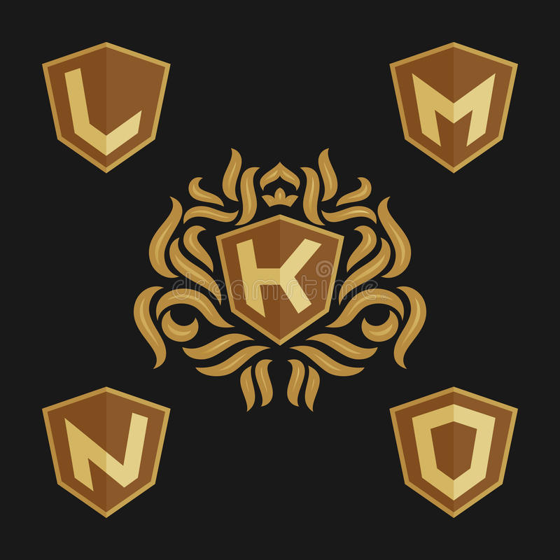 Decorative Ornate Monogram Emblem Template. Set Of Vector