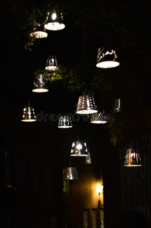 Decorative outdoor lights at night stock photography