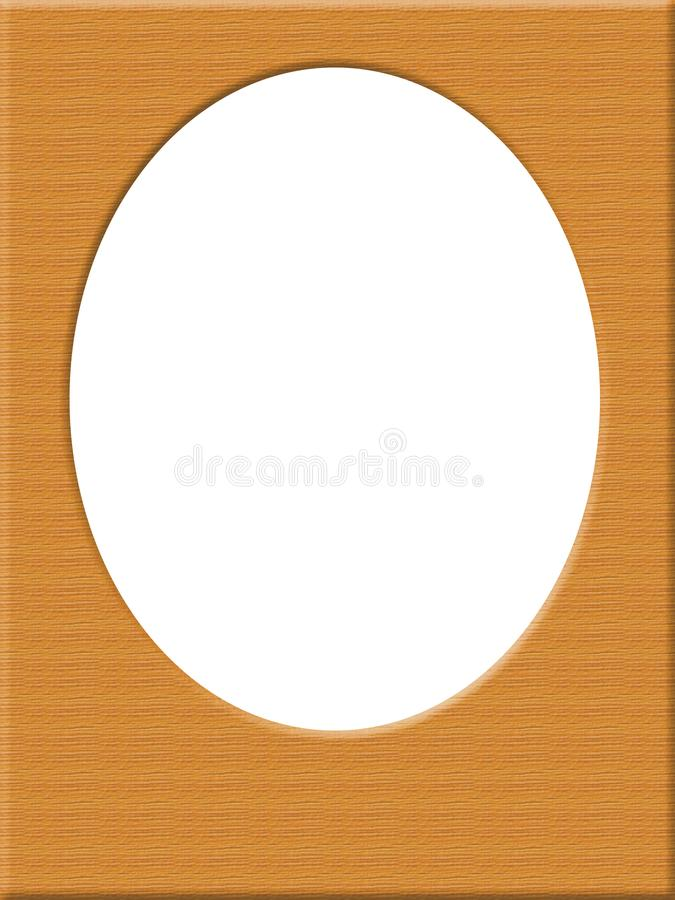 Oval photo frame, wooden background stock photography