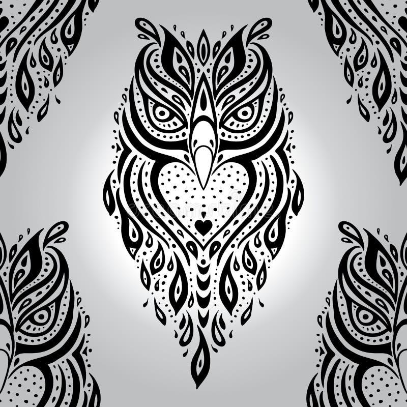 Polynesian Tribal Wallpaper: Decorative Owl. Seamless Pattern. Stock Vector