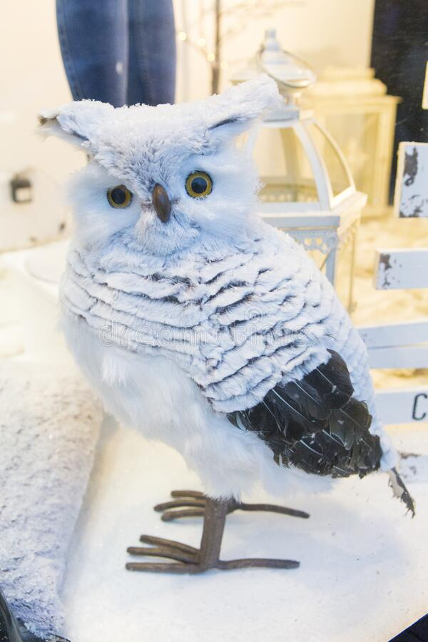 Decorative owl in a shop stock photos