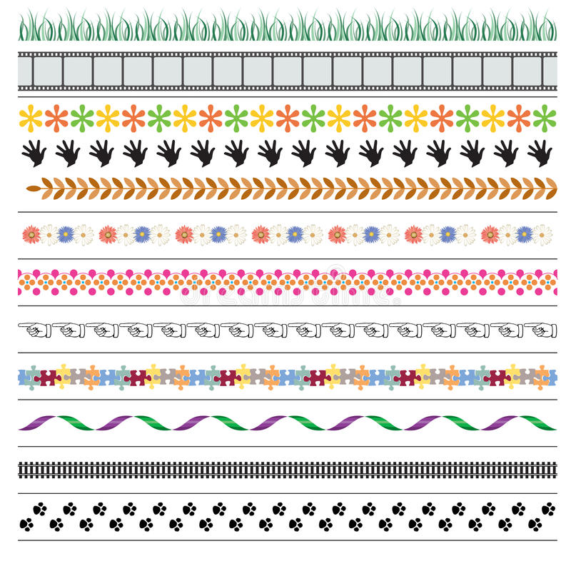 Decorative page border dividers. Simple and suitable page border dividers created with brushes vector illustration