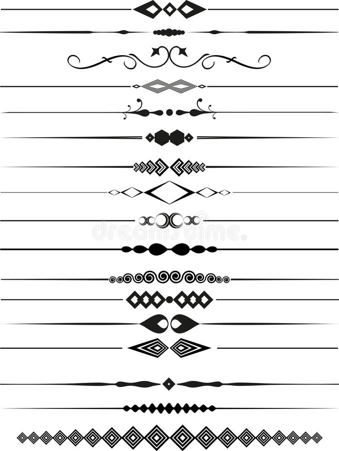Decorative page dividers. Collection of decorative page dividers vector illustration