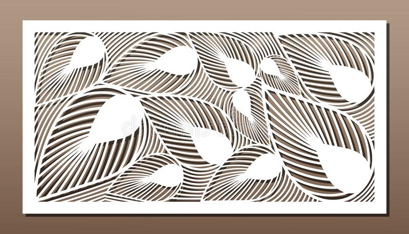 Decorative panel for laser cutting. Art silhouette design. Ratio 1:2. Vector illustration stock illustration