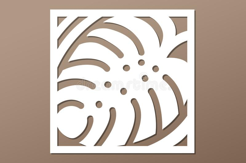 Decorative panel laser cutting. wooden panel. Elegant modern monstera pattern. Tree leave. Stencil. Ratio 1:1. Vector illustration.  royalty free illustration
