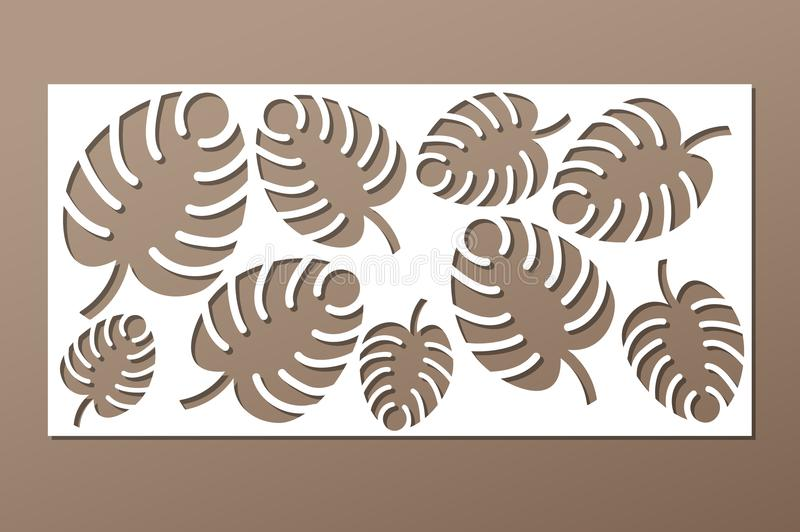 Decorative panel laser cutting. wooden panel. Elegant modern monstera pattern. Tree leave. Stencil. Ratio 1:2. Vector illustration.  vector illustration