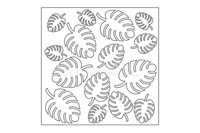 Decorative panel laser cutting. wooden panel. Elegant modern monstera pattern. Tree leave. Stencil. Ratio 1:1. Vector illustration.  stock illustration