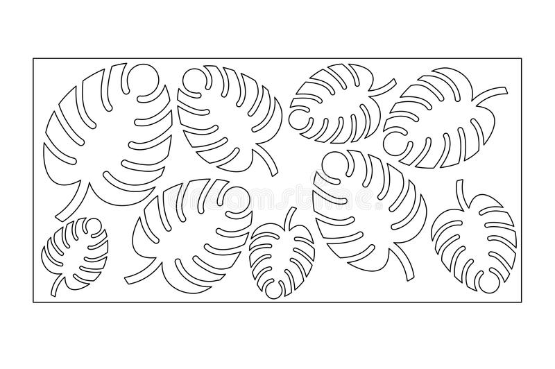 Decorative panel laser cutting. wooden panel. Elegant modern monstera pattern. Tree leave. Stencil. Ratio 1:2. Vector illustration.  royalty free illustration