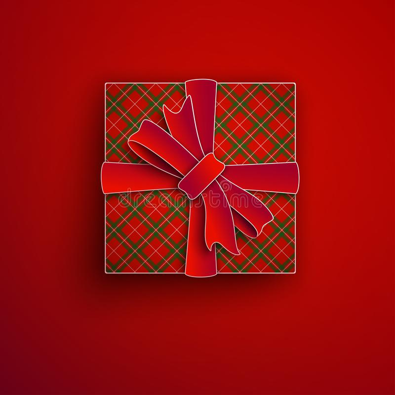 Decorative paper cut gift box isolated on red background. Red bow, ribbon festive element for holiday design, christmas greeting vector illustration