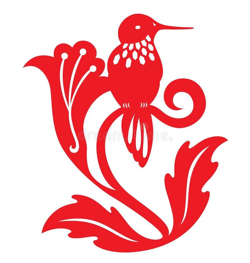 Decorative paper cut humming bird on flowers royalty free illustration