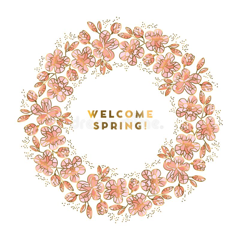Rosy and gold color sakura flowers wreath royalty free illustration