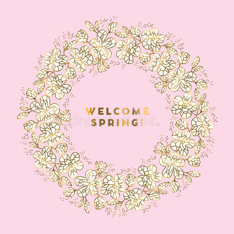 Rosy and gold color sakura flowers wreath vector illustration