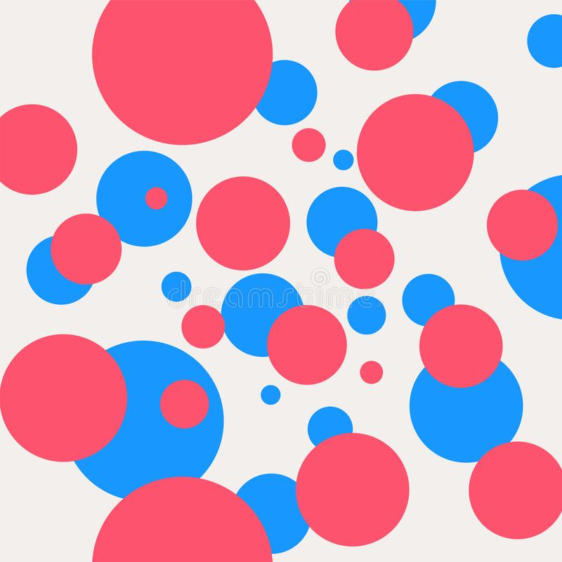 Decorative pattern with blue and pink circles. Vector. Abstract ornament, background. Cartoon cheerful style. A set of scenery. Contour drawing for fabric and stock illustration