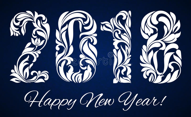 2018 with a decorative pattern for Happy New Year celebrations.  vector illustration