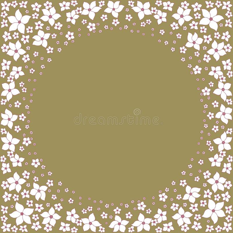 Decorative pattern of large and small white flowers on green background. Round floral frame. stock illustration