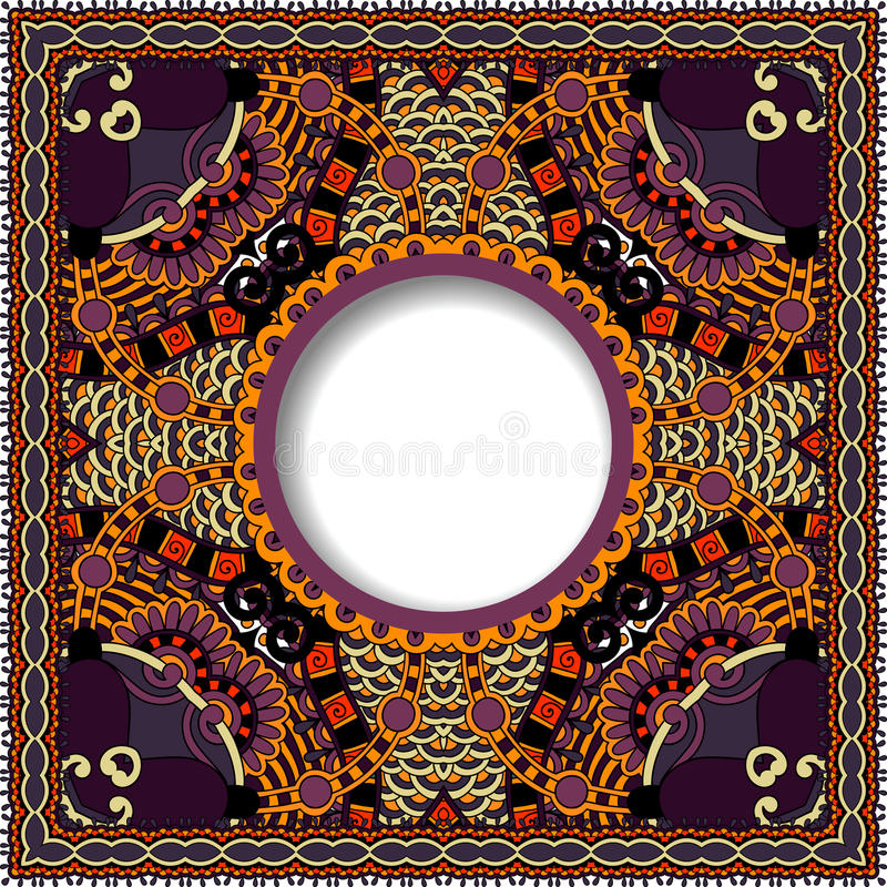 Decorative pattern of ukrainian ethnic carpet. Design with place for your text, abstract tribal frame border, vector illustration stock illustration
