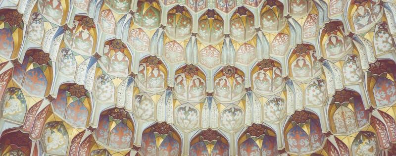 Decorative patterns and architectural details at the main entrance of Abdullaziz Khan madrasah in Bukhara, Uzbekistan stock image