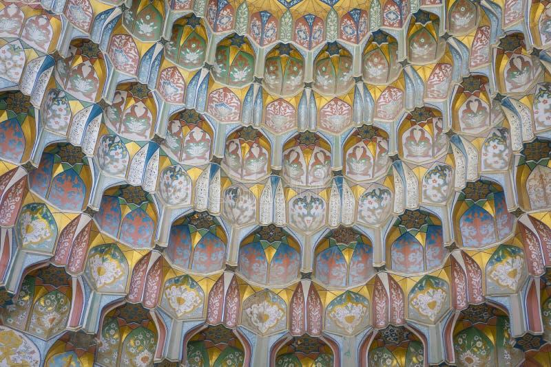 Decorative patterns and architectural details at the main entrance of Abdullaziz Khan madrasah in Bukhara, Uzbekistan royalty free stock images