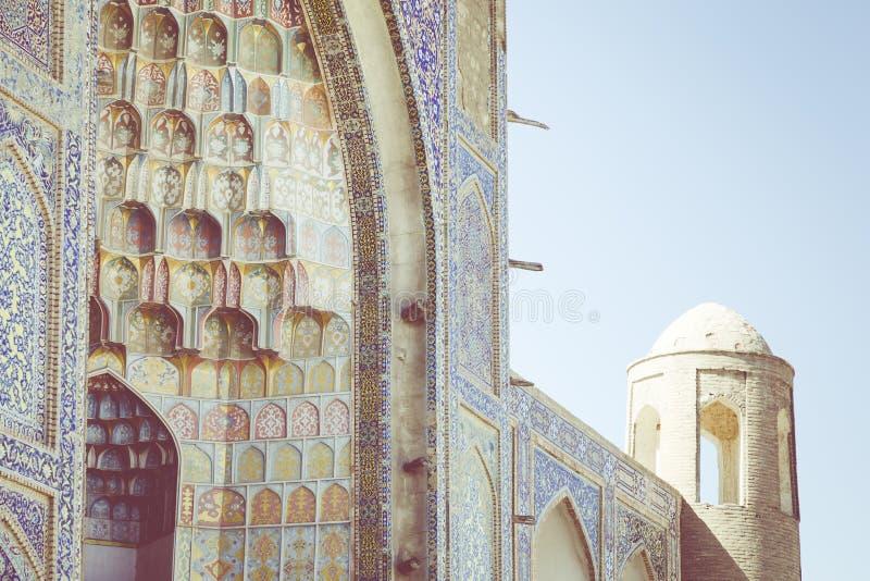 Decorative patterns and architectural details at the main entrance of Abdullaziz Khan madrasah in Bukhara, Uzbekistan royalty free stock photos