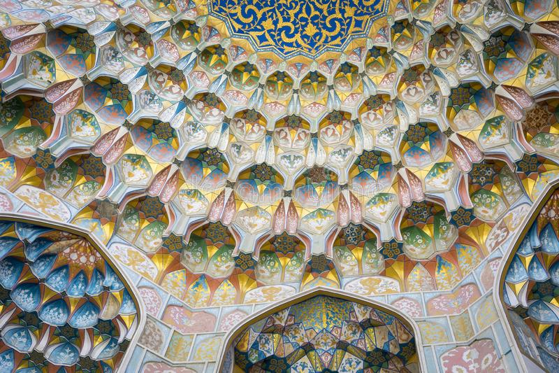 Decorative patterns and architectural details at the main entrance of Abdullaziz Khan madrasah in Bukhara, Uzbekistan stock photo