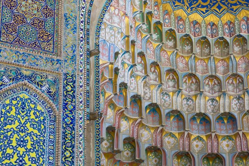 Decorative patterns and architectural details at the main entrance of Abdullaziz Khan madrasah in Bukhara, Uzbekistan stock photos