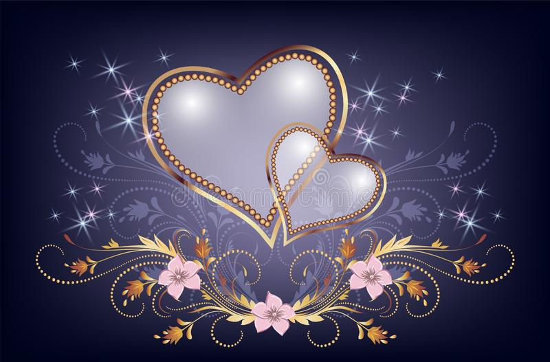 Decorative pearl heart with golden ornament and sparkle stars stock photos