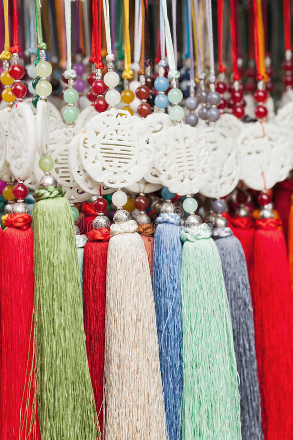 Decorative pendants with tassels, Panjuayuan Market, Beijing, China royalty free stock photography