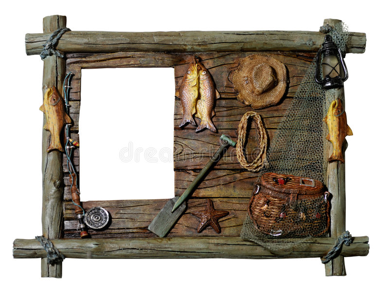Decorative picture frame. Decorative artistic wooden picture frame Fishing theme Isolated silhouette over white background with a clipping path royalty free stock photo