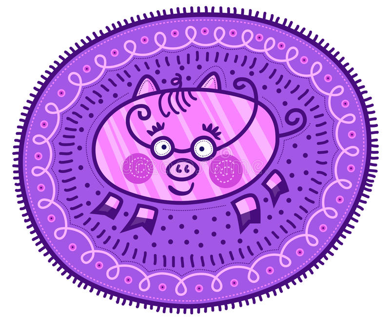 Decorative pig. Pink pig with stripes on purple decorative background royalty free illustration