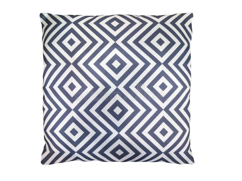 Decorative pillow with geometric pattern. Isolated on white background royalty free stock images