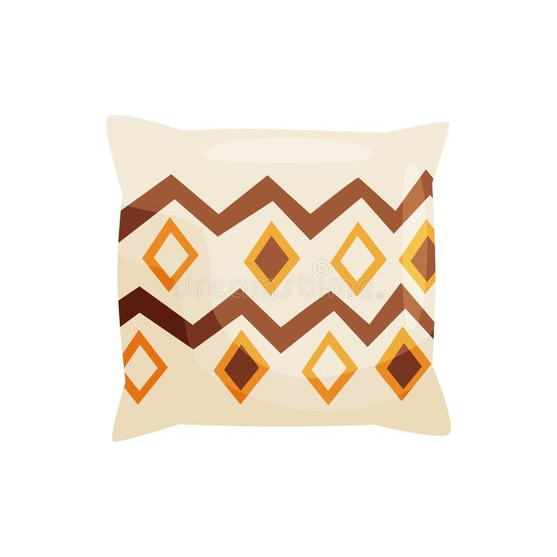 Decorative pillow on white background. Vector illustration. stock illustration