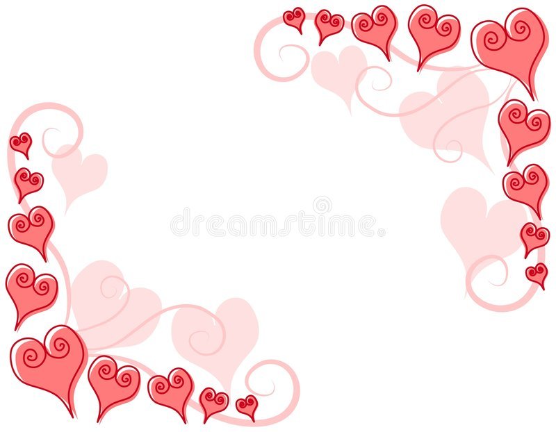 Decorative Pink Hearts Corner Borders royalty free illustration