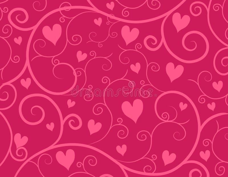 Decorative Pink Hearts Vine Background royalty free illustration