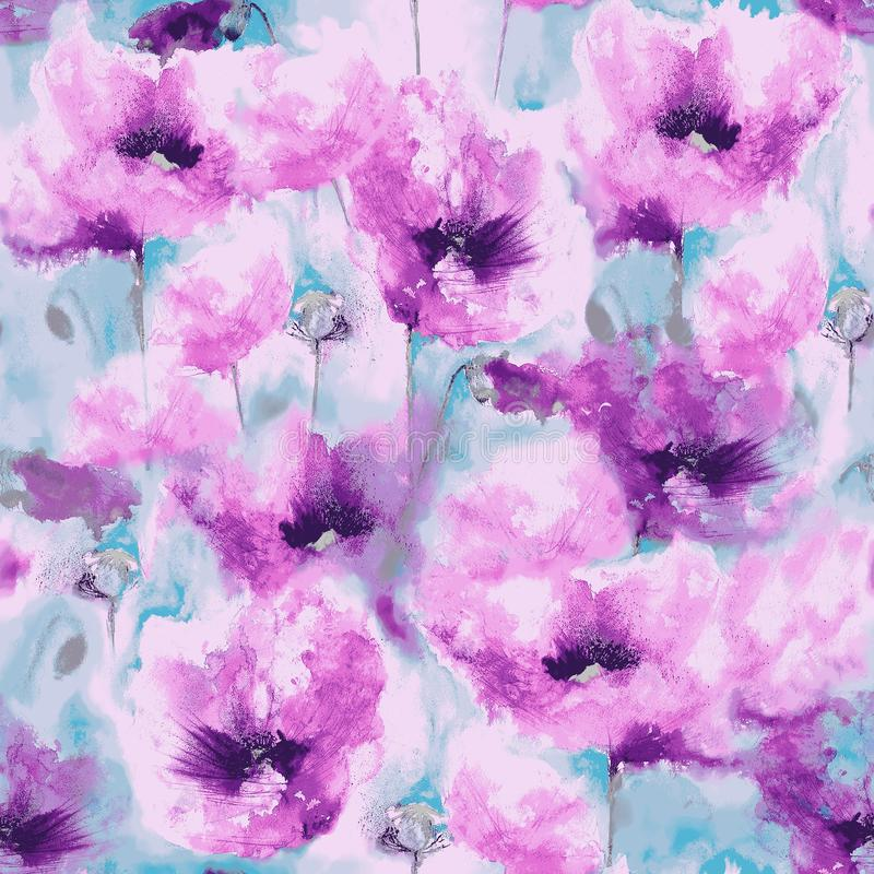 Free Decorative Pink Poppies Watercolour Seamless Repeat Pattern Stock Images - 165226294
