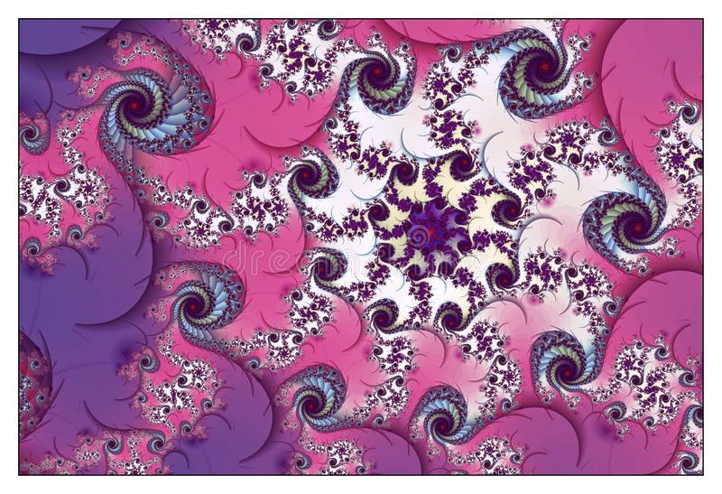 Pink Floral Spiral Pattern stock illustration