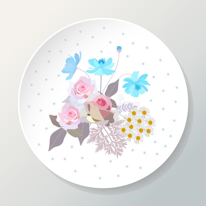 Decorative plate with bouquet of beautiful summer flowers. Vector template.  vector illustration