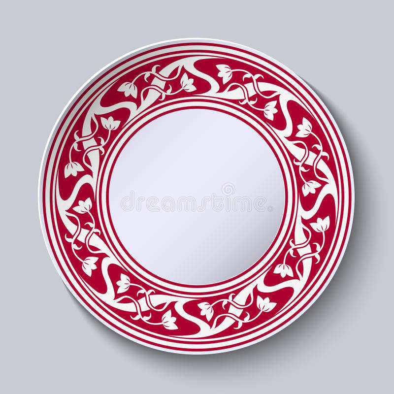 Decorative plate with empty space in the center. Red with white circular pattern in the style of Chinese painting on porcelain. Vector illustration.  sc 1 st  Dreamstime.com & Decorative Plate With Empty Space In The Center. Red With White ...