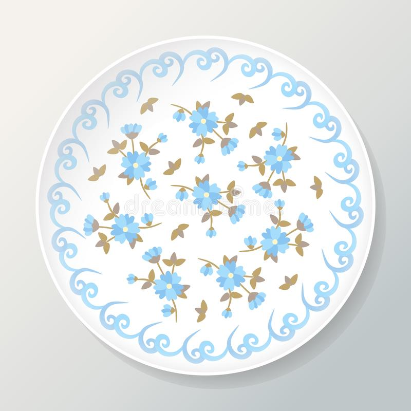 Decorative plate with floral composition of beautiful blue flowers. Vector illustration royalty free illustration