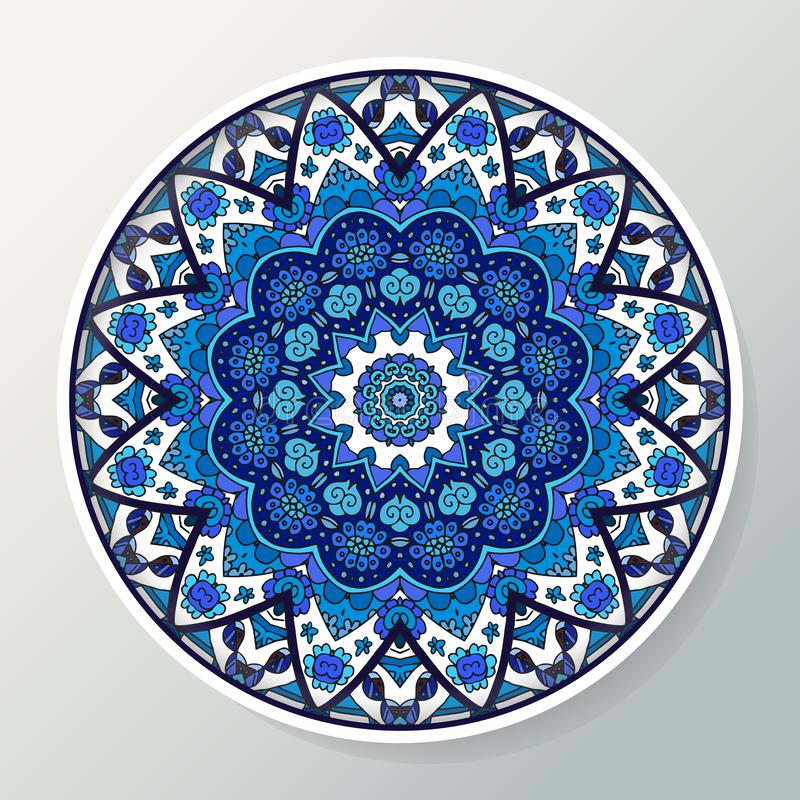 Decorative plate with round ornament in ethnic style. Mandala in blue colors. Oriental pattern. Vector illustration stock illustration