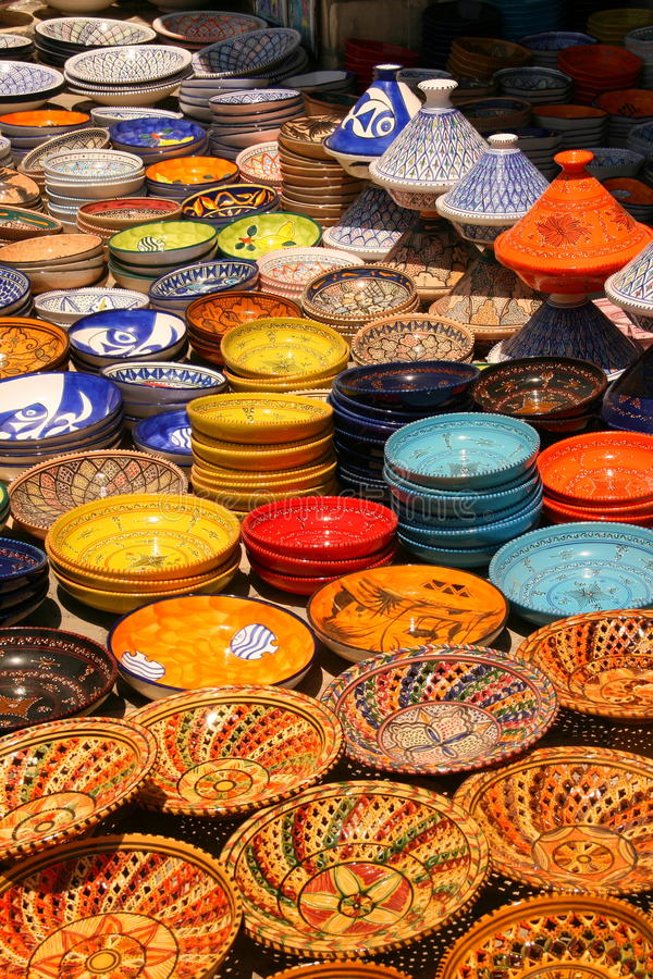 Decorative plates. Souvenirs from Sousse in Tunisia royalty free stock image