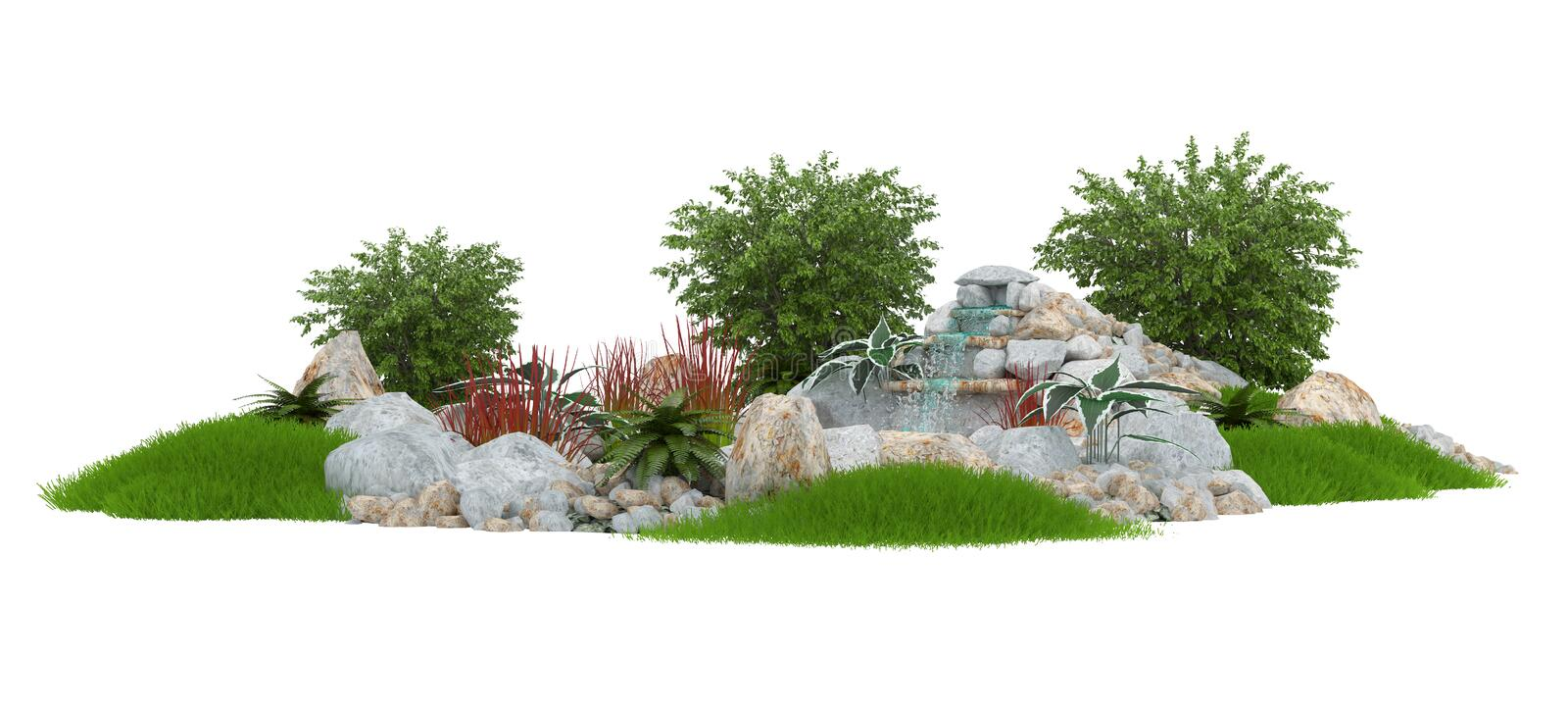 Decorative pond on a white background royalty free stock photography