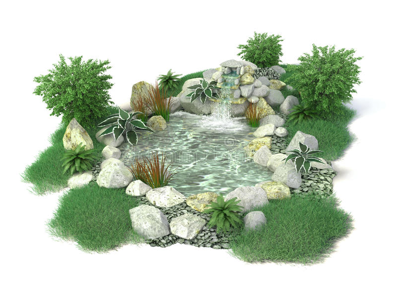 Decorative pond on a white background in 3D royalty free stock photo