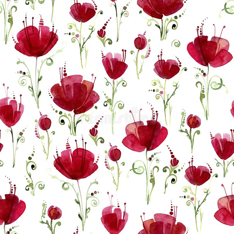 Decorative poppy flowers. Seamless watercolor pattern on white background. vector illustration