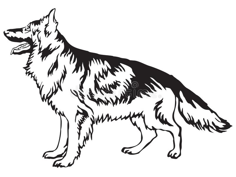Decorative standing portrait of German Shepherd vector illustration royalty free illustration