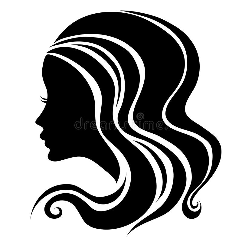 Decorative portrait of woman with long hair stock illustration