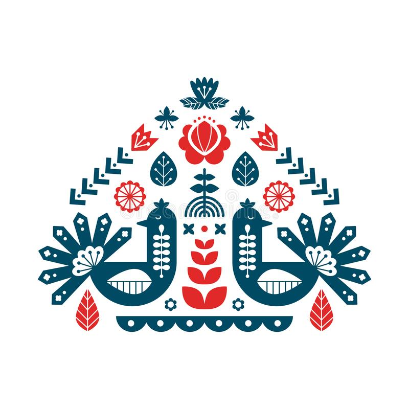Decorative print with peacock and floral elements. Nordic ornaments, folk art pattern. stock illustration