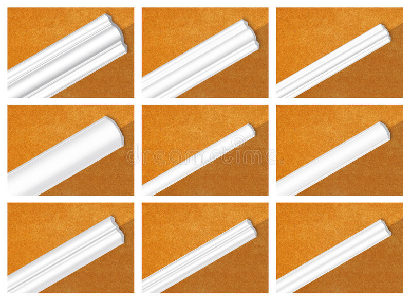 Decorative profile. Of polystyrene, ceiling skirting stock images