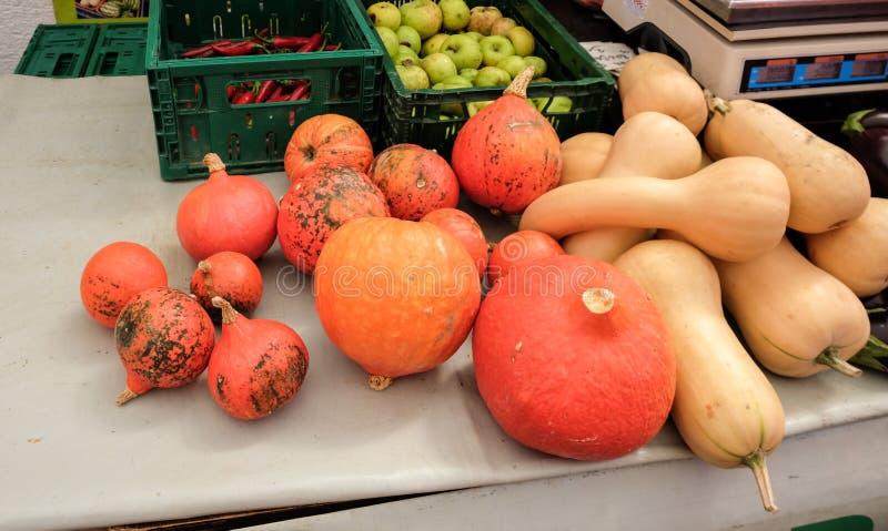 Decorative pumpkins for sale at central farmers ' market Dolac. Gornji Grad. Zagreb stock image